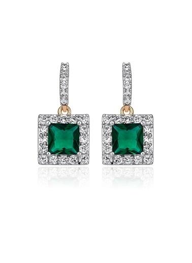 Tophills Diamond Co. 0,90 Ct Pırlanta Efekt Altın Emerald Princess Vera Küpe Renkli
